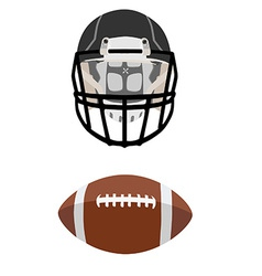 American football ball and helmet vector