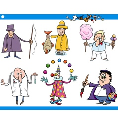 Cartoon people occupations characters set vector