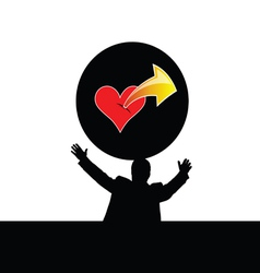 Man with heart vector