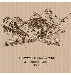 The way to the mountains vector image