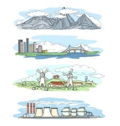 Landscapes in hand drawing style vector
