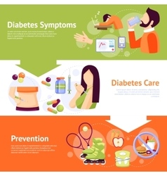 Diabetes symptoms 3 flat banners set vector