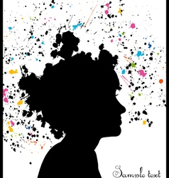 Grunge head silhouette vector
