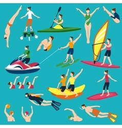 Water sport and activities set vector
