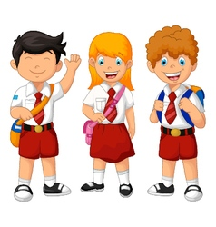 Funny three student cartoon vector