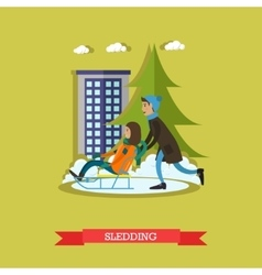 Boy and girl sledding in vector