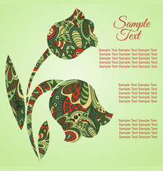 doodle flower tulips zentangl drawing holiday vector image