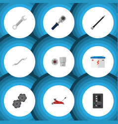 flat icon service set of turnscrew lifting vector image vector image
