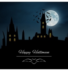Halloween background castle night vector image vector image