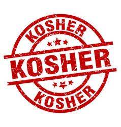 kosher round red grunge stamp vector image vector image