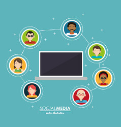laptop persons connected integrate communication vector image