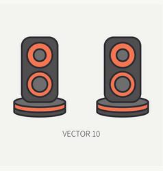Line flat color computer part icon audio vector
