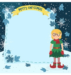 Notes Christmas Elf Glasses Girl vector image