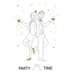 Party time line art vector