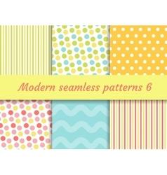 Polka dot strips wave seamless pattern set vector