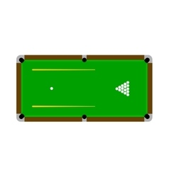 Pool table with balls and cue vector image