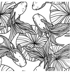 seamless pattern with golden fishes vector image
