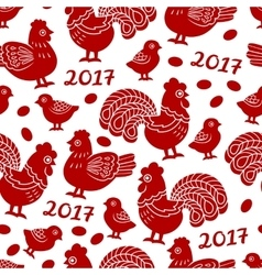 Seamless pattern with red cock rooster - symbol vector