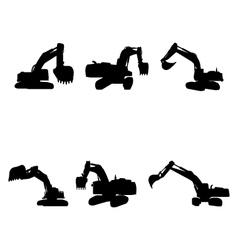set excavators vector image
