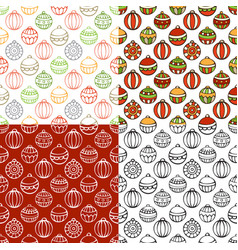 Set of seamless pattern of christmas baubles vector