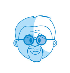 Silhouette old man face with hairstyle vector