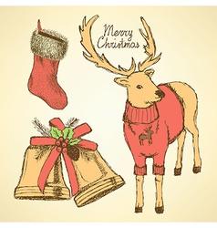 Sketch fancy reindeer in vintage style vector image