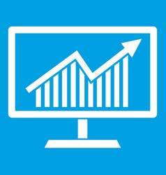 statistics on monitor icon white vector image