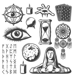 vintage mystic elements set vector image