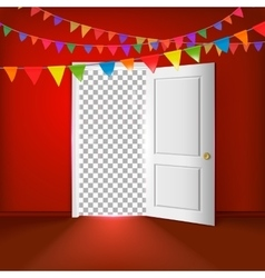 Open door with transparent vector