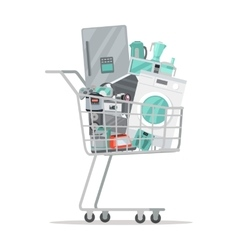 Household appliances in trolley flat style vector