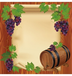 Background with grape barrel and paper on wood vector image