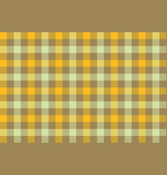 Yellow brown check fabric texture background vector