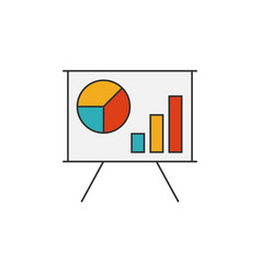 Schedule on the whiteboard flat line icon vector