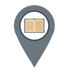 Gray map pointer with book icon isolated vector