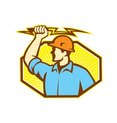 Electrician wielding lightning bolt vector