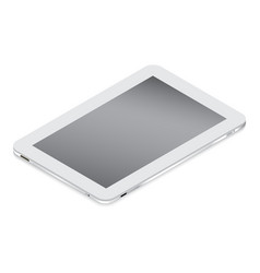Realistic white tablet in isometry isolated on a vector