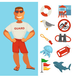 Lifeguard or sea guard watch and water rescue vector