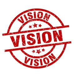 Vision round red grunge stamp vector