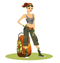 Beautiful young female backpacker vector