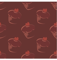 Tile cupcake brown pattern vector image