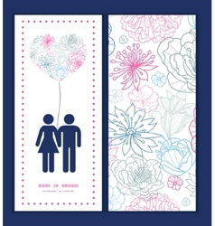 Gray and pink lineart florals couple in love vector