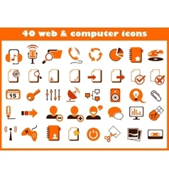 40 web and computer icons vector image