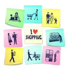 Sticker note style supermarket cards vector
