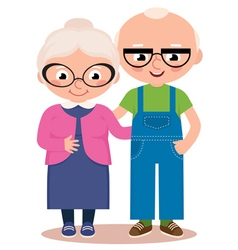 Old married couple isolated on a white background vector