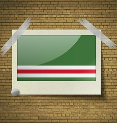 Flags chechen republic of ichke at frame on a vector