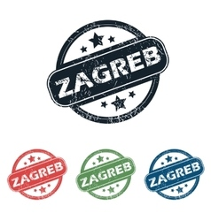 Round zagreb city stamp set vector