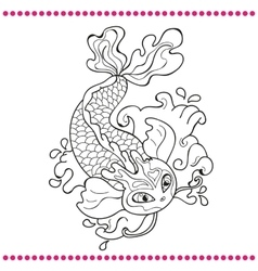 Japanese carp - line drawing image vector