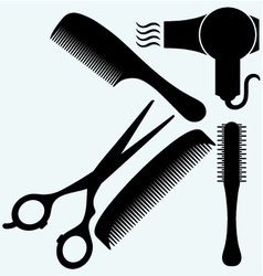 Scissors comb for hair and dryer vector image