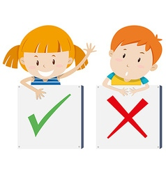 Girl with right sign and boy with wrong sign vector