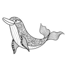 Zentangle sea dolphin for adult anti stress vector